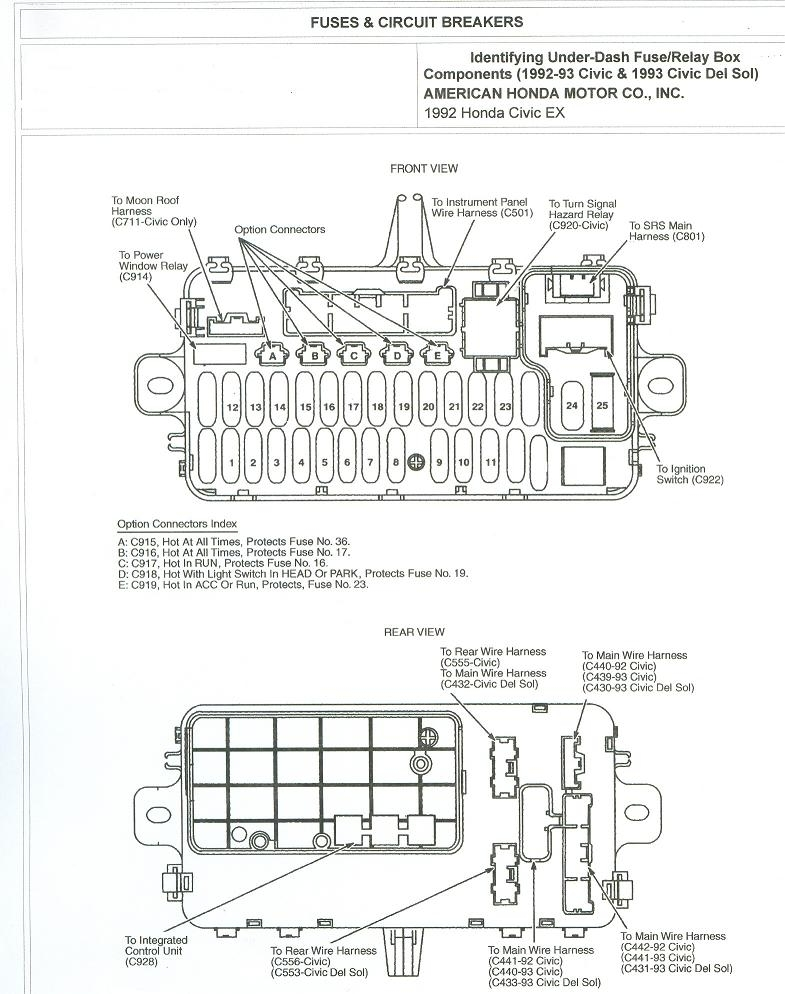 1995 Honda Accord Under Dash Fuse Box Diagram : 45 Wiring