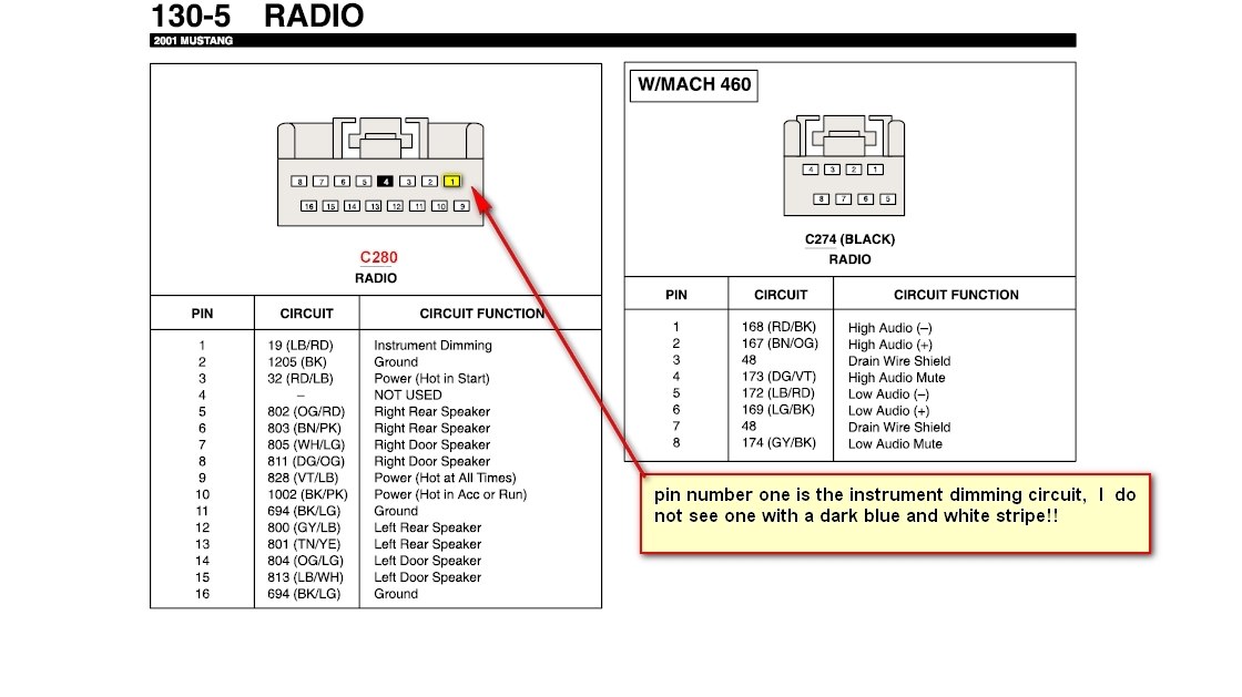 2001 Ford Mustang Radio Wiring Diagram