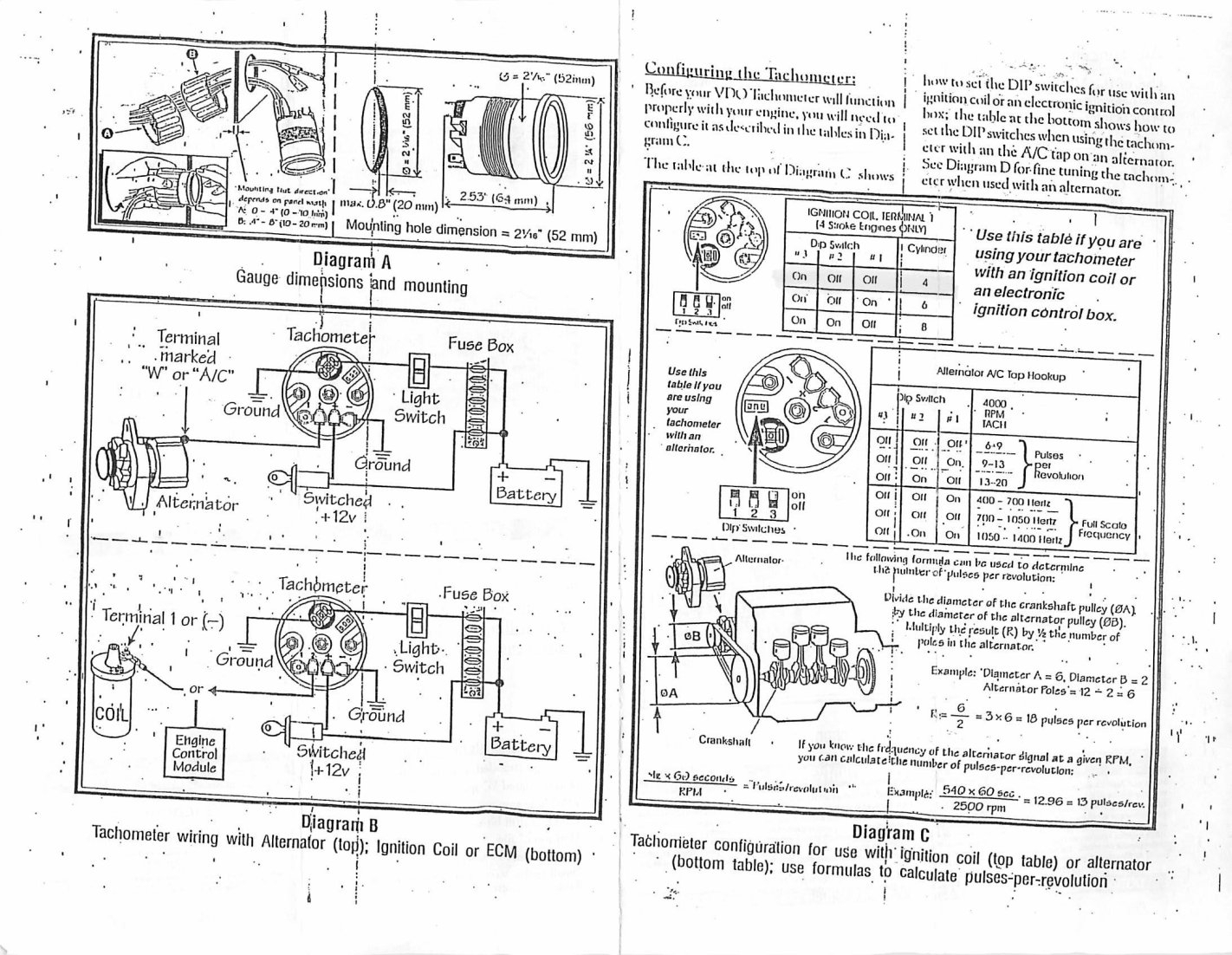 vdo marine tachometer wiring diagram msd 6al sbc boat gauge for fuse box and