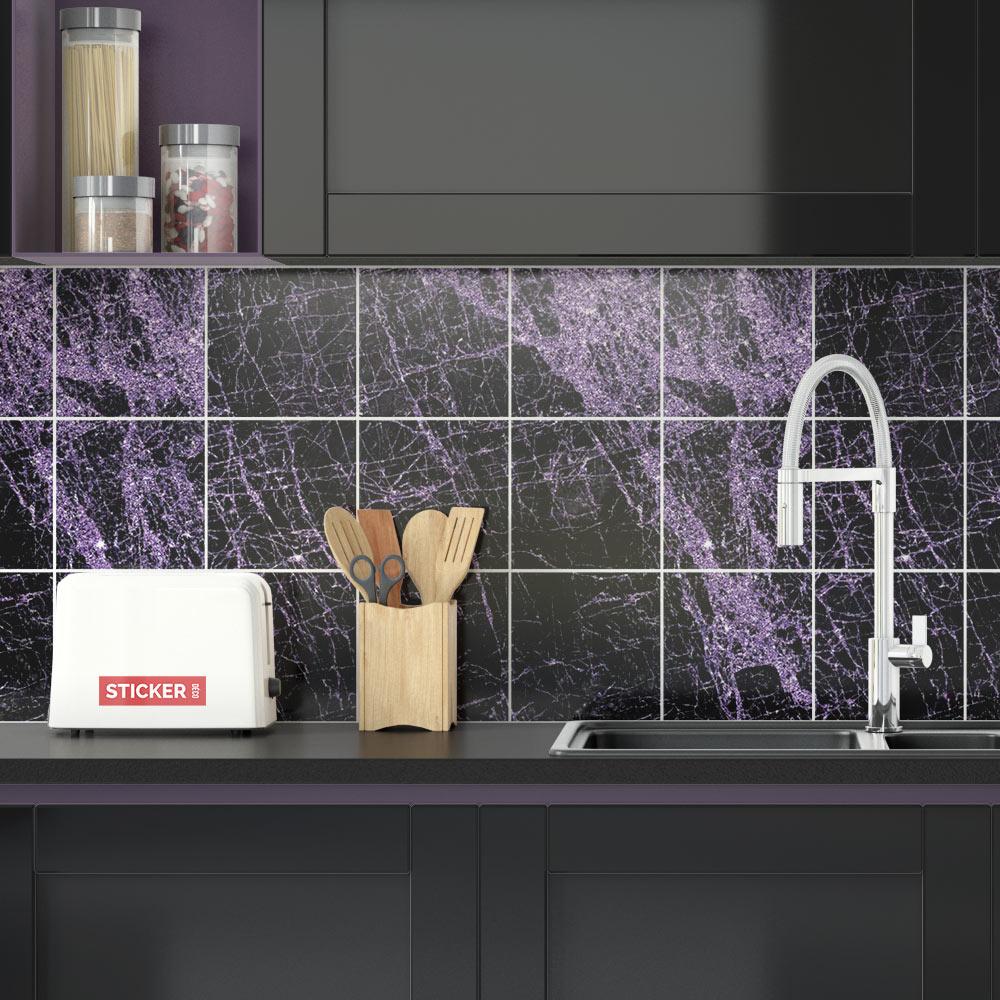 sticker carrelage marbre noir violet