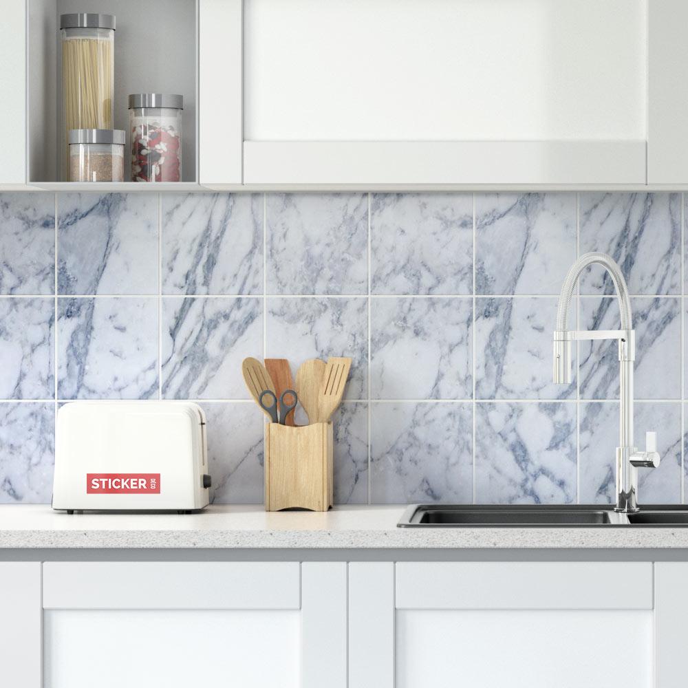 stickers carrelage marbre blanc bleu