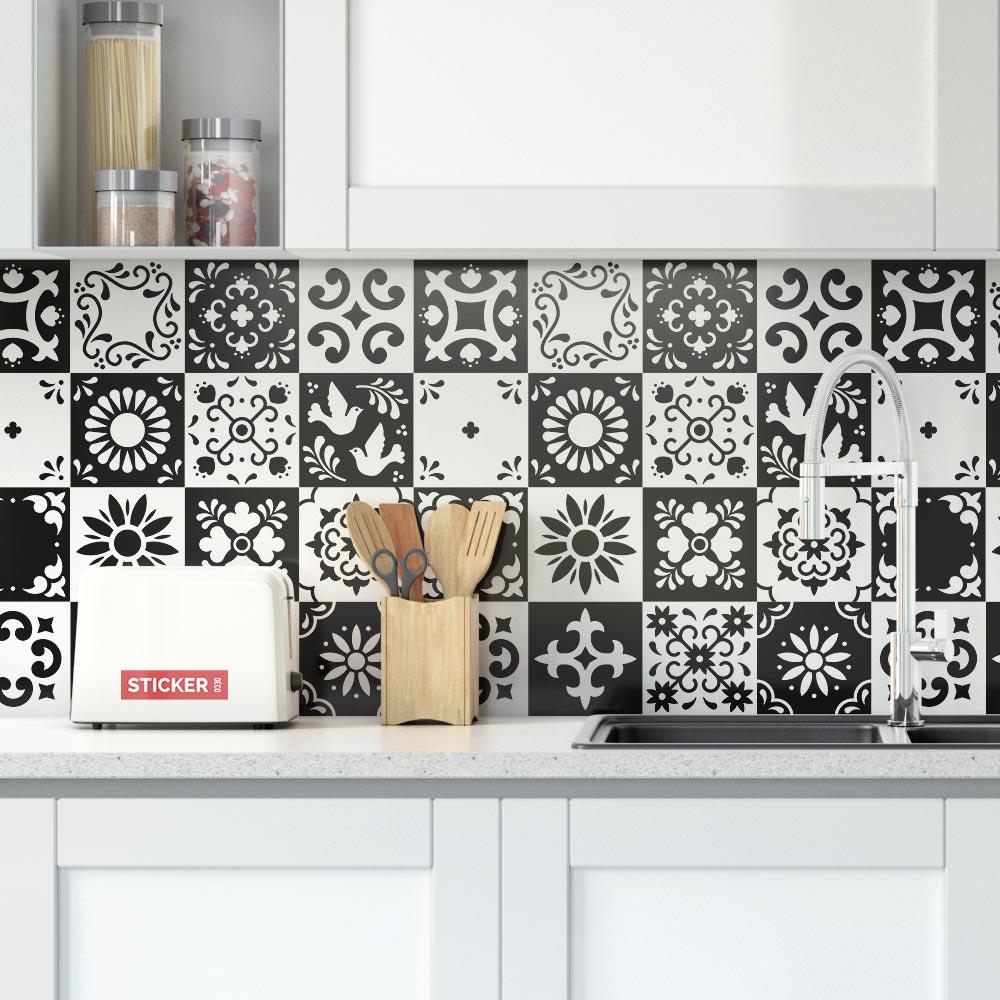 stickers carreaux de ciment noir et blanc