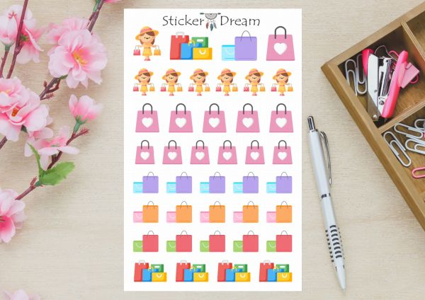 Sticker Dream - Cartela Sacolas de Shopping