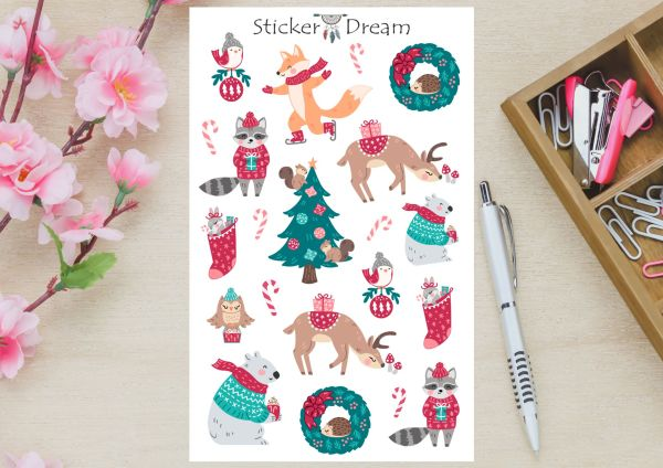 Sticker Dream - Cartela Bichos Natalinos