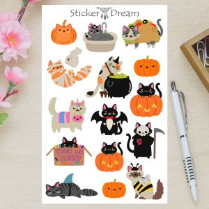 Sticker Dream - Cartela Gatinhos Halloween