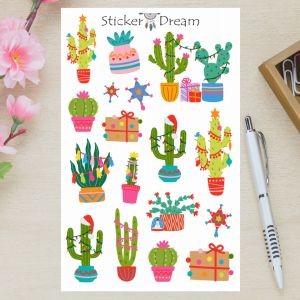 Sticker Dream - Cartela Cactos Natalinos