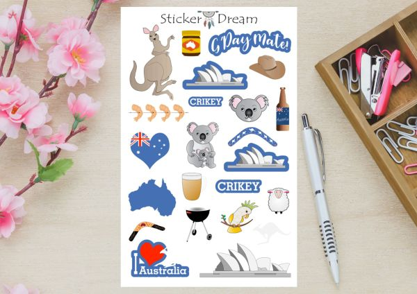Sticker Dream - Cartela Austrália