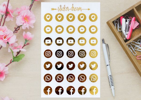 Sticker Dream - Cartela Foil Redes Sociais