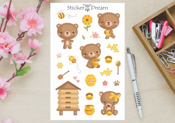 Sticker Dream - Cartela Ursinho no Mel