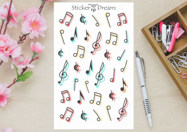 Sticker Dream - Cartela Notas Musicais