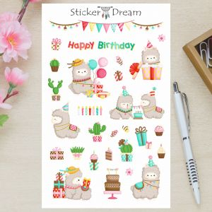 Sticker Dream - Cartela Lhama Birthday