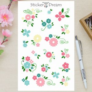 Sticker Dream - Cartela Flowers Pink and Blue