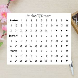 Sticker Dream - Cartela Super Meses 1 a 3