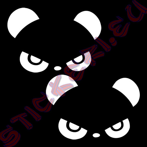 Стикери панда за огледалата 2 бели