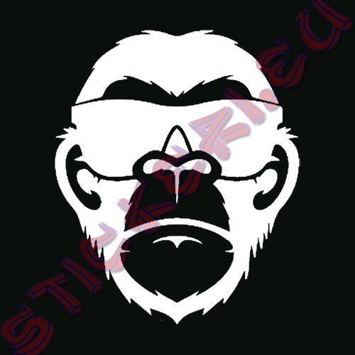 Стикер Маймуна със слънчеви очила бял