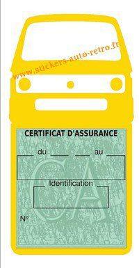 Autocollant voiture vintage porte étui pochette assurance combi T3VW jaune.