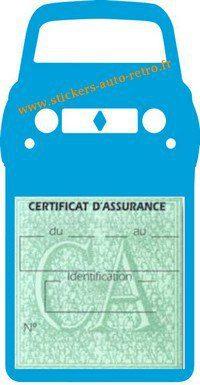 Stickers porte vignette assurance auto Renault 4L rétro couleur bleu clair