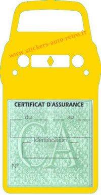 Stickers porte vignette assurance auto Renault 4L rétro couleur jaune
