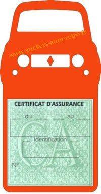 Stickers porte vignette assurance auto Renault 4L rétro couleur orange.