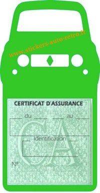 Stickers porte vignette assurance auto Renault 4L rétro couleur vert clair