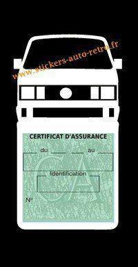 Etui vignette assurance T4 Volkswagen blanche  le support pochette certificat voiture.