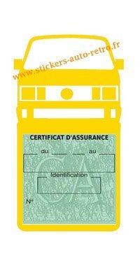 Etui vignette assurance T4 Volkswagen jaune le support pochette certificat voiture.