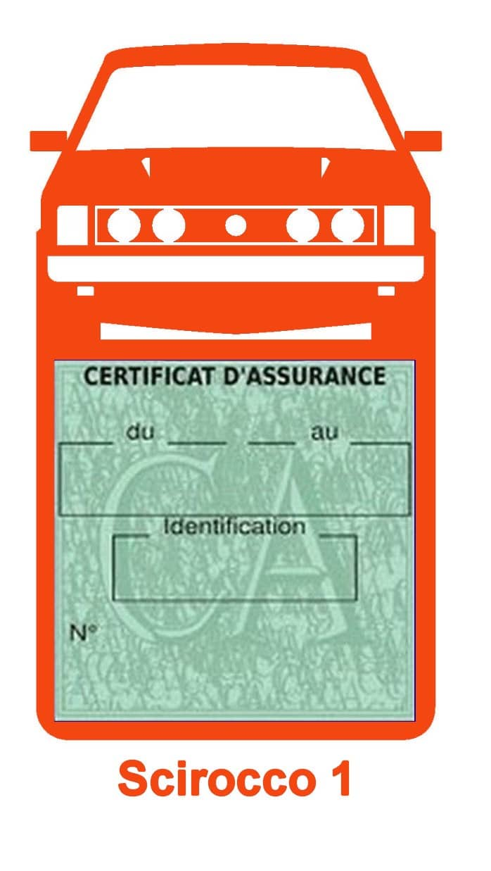 Porte vignette assurance auto Volkswagen Sirocco 1 couleur orange.