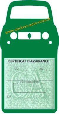 Stickers porte vignette assurance auto Renault 4L rétro couleur vert foncé
