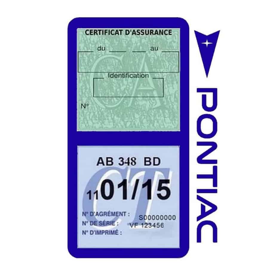 PONTIAC étui vignette assurance voiture bleu foncé