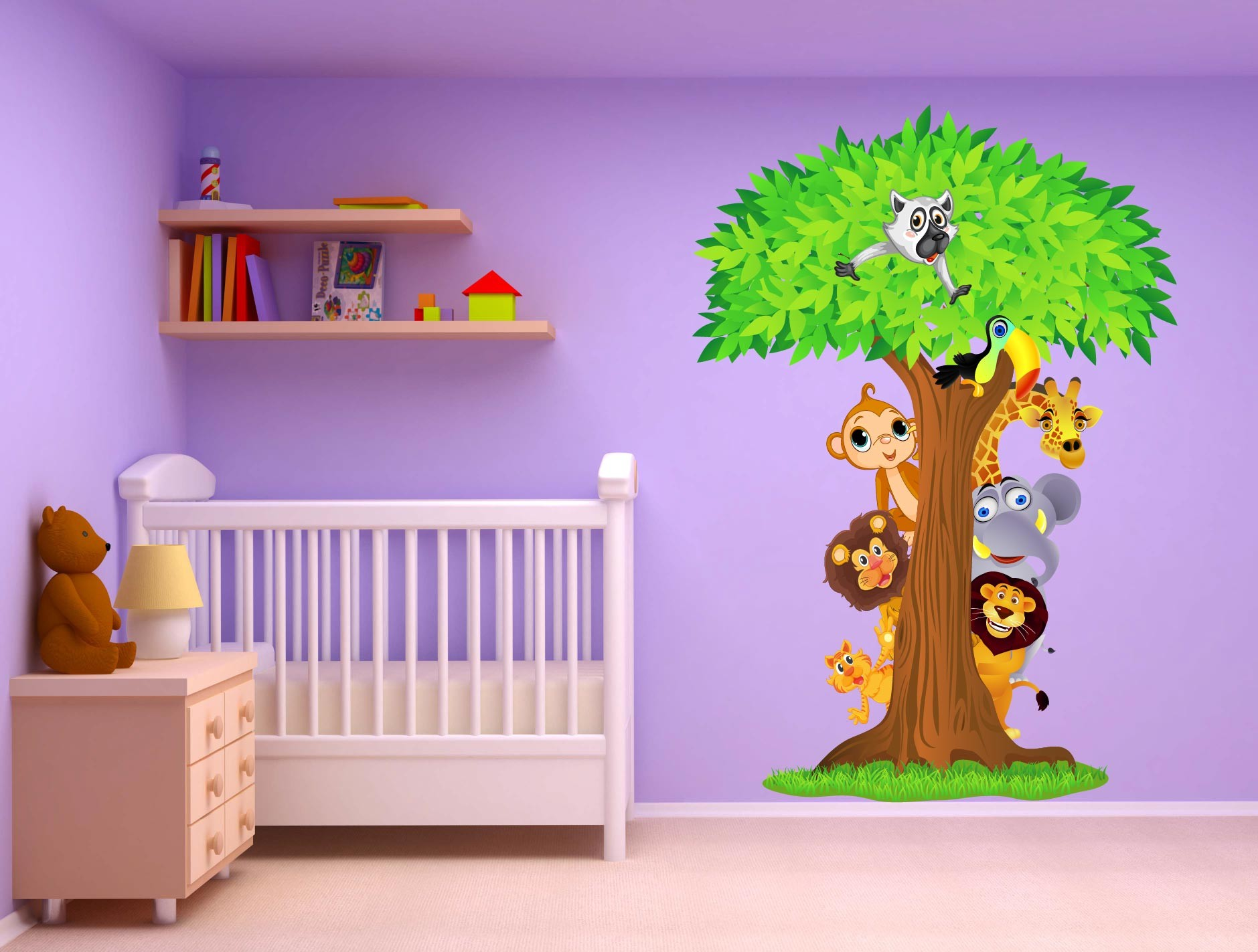 stickers arbre animaux jungle 15208