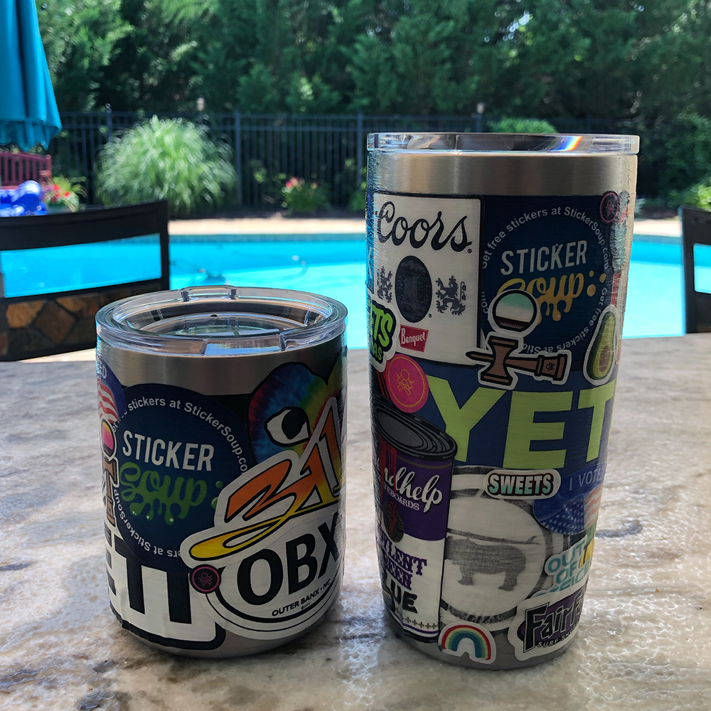 StickerSoup Yeti Cups by a pool