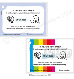 panic attack card one with pale blue border one with rainbow striped border [ 1000 x 1000 Pixel ]