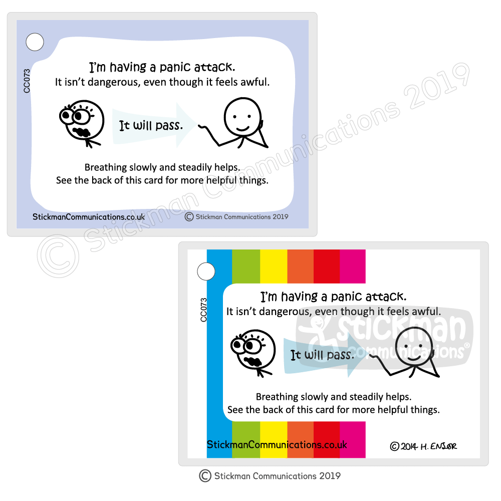 hight resolution of panic attack card one with pale blue border one with rainbow striped border