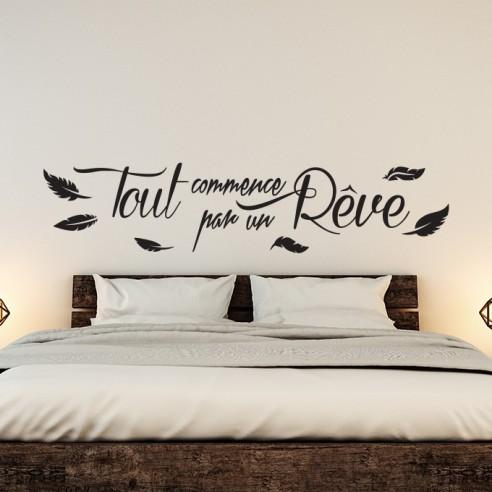 Tout Commence Par Un Reve : commence, Sticker, Citation, Commence, Rêve., Décoration, Stickers, Chambre