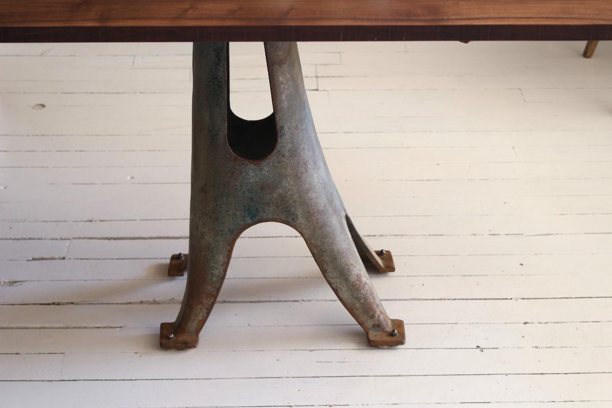 sticks and bricks walnut trestle table