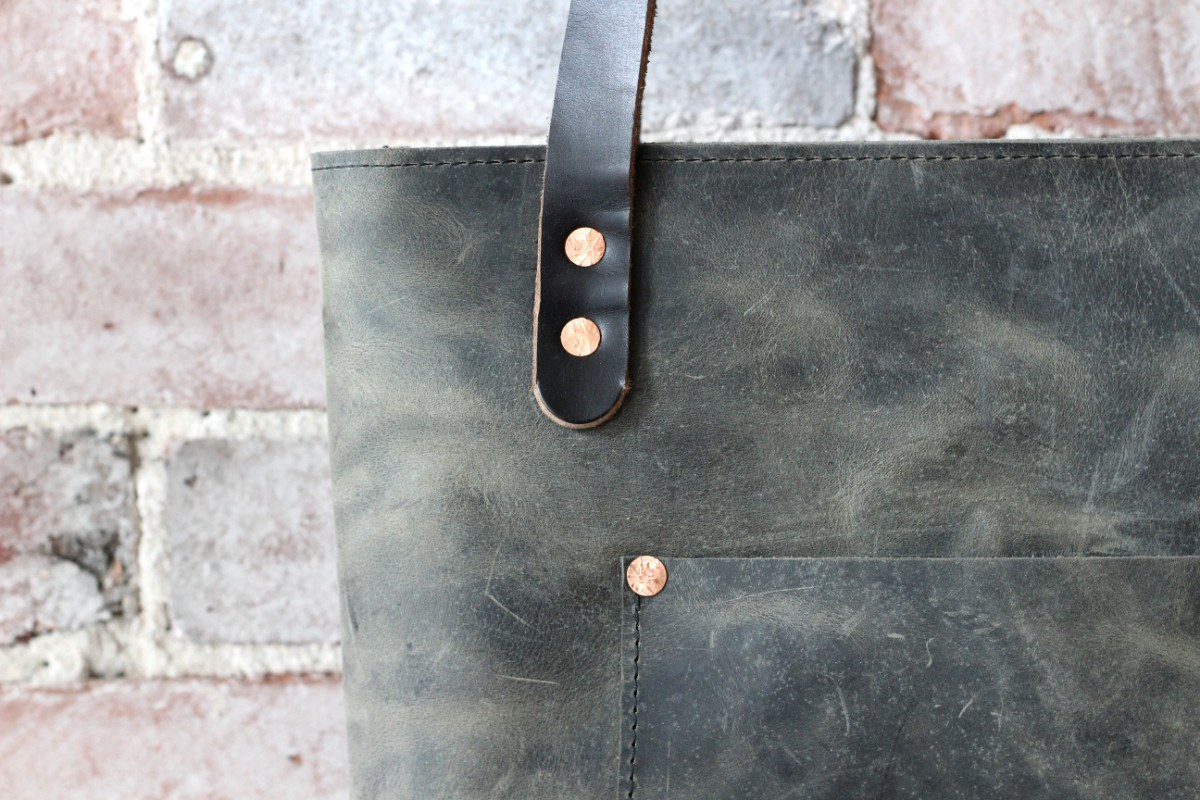 sticks and bricks grey leather zip tote by zoe johnson