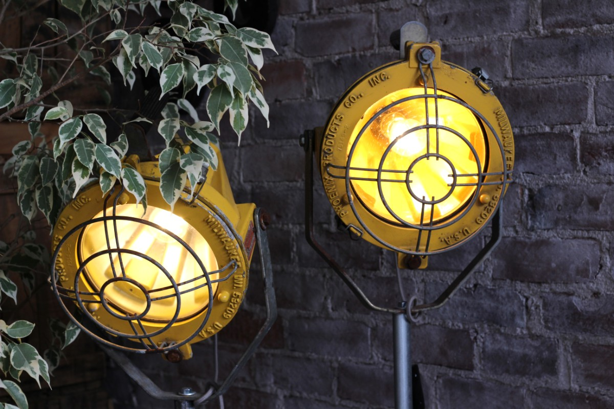 sticks and bricks pair of yellow industrial lamps