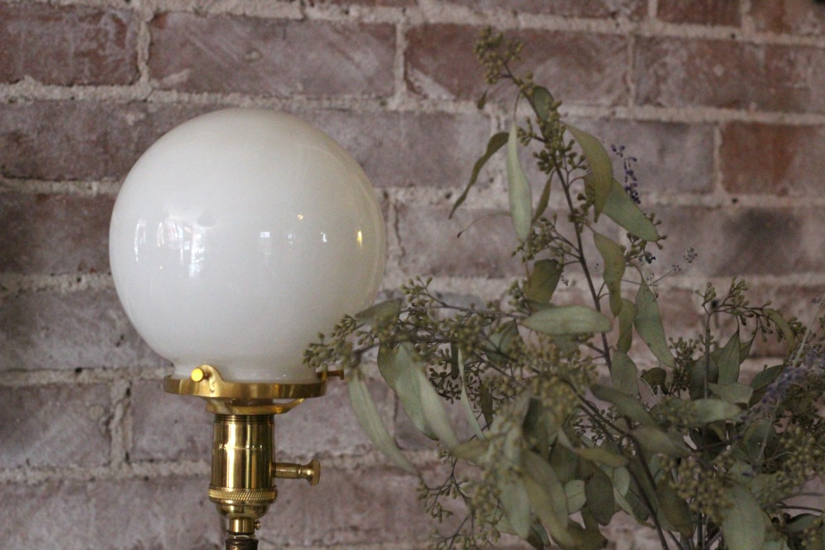 petite milk glass lamp