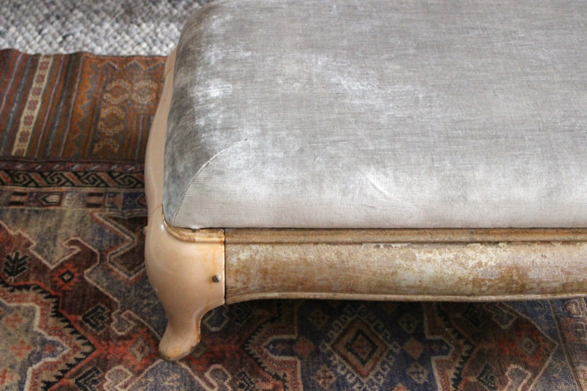 sticks and bricks velvet ottoman vintage and custom furniture northampton downtown