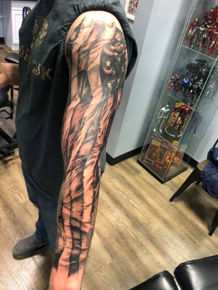 American Flag Sleeve Tattoos : american, sleeve, tattoos, CoryPhillips-AmericanFlag-Tattoo-Sleeve-BlackGrey, Stick, Tattoo, Morgantown,
