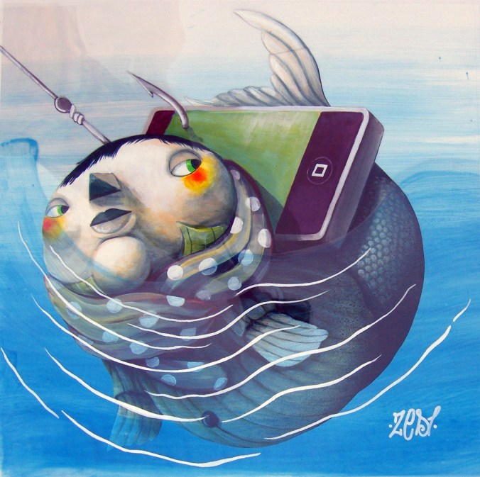 Prey of Technology by Zed1, Acrylic on paper between transparent film, 50x50cm