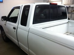 White Nissan Frontier Before Mobile Window Tinting
