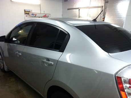 Silver sentra After Mobile Window Tinting