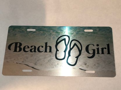 Beach Girl Water Background Silver License Plate