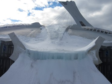 The Olympic Stadium...and a frozen waterfall running off the roof!