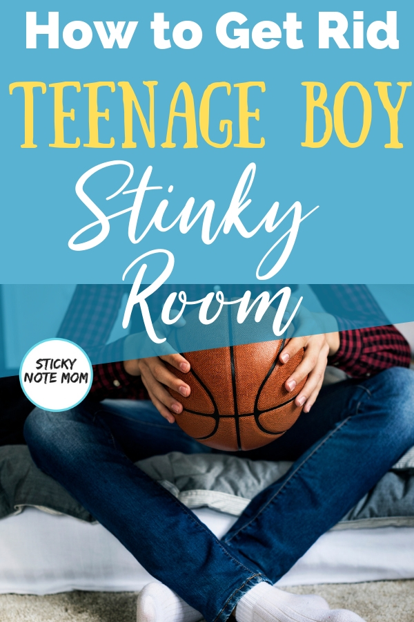 Teenage boys STINK! These quick tips will help you conquer the teenage boy stinky room. #parentingtip #teenageboy