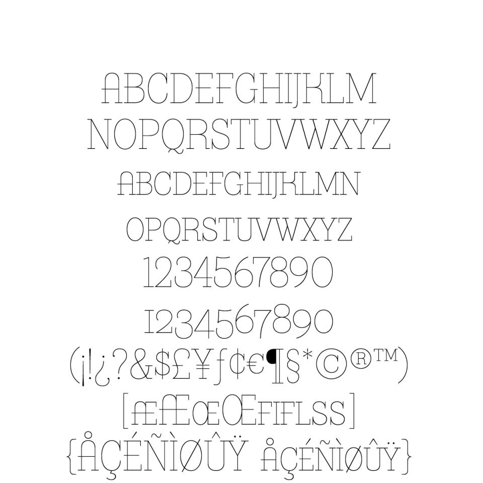 Bazaruto Text Monoline sample character set