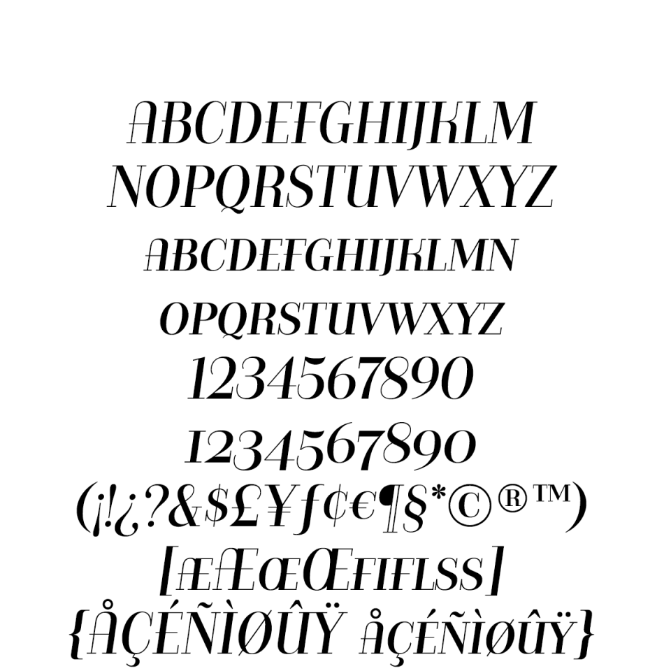 Bazaruto Text Oblique sample character set