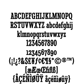 Stint Ultra Condensed Pro Bold sample character set