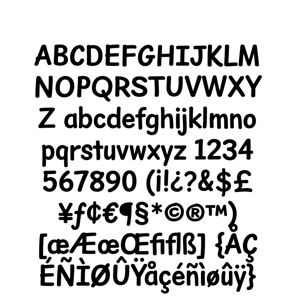 Dear Sans Condensed-Bold Character Set sample